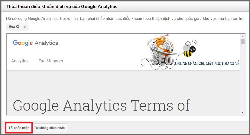 Chấp nhận điều khoản Google Analytics